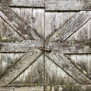 A weathered barn door.